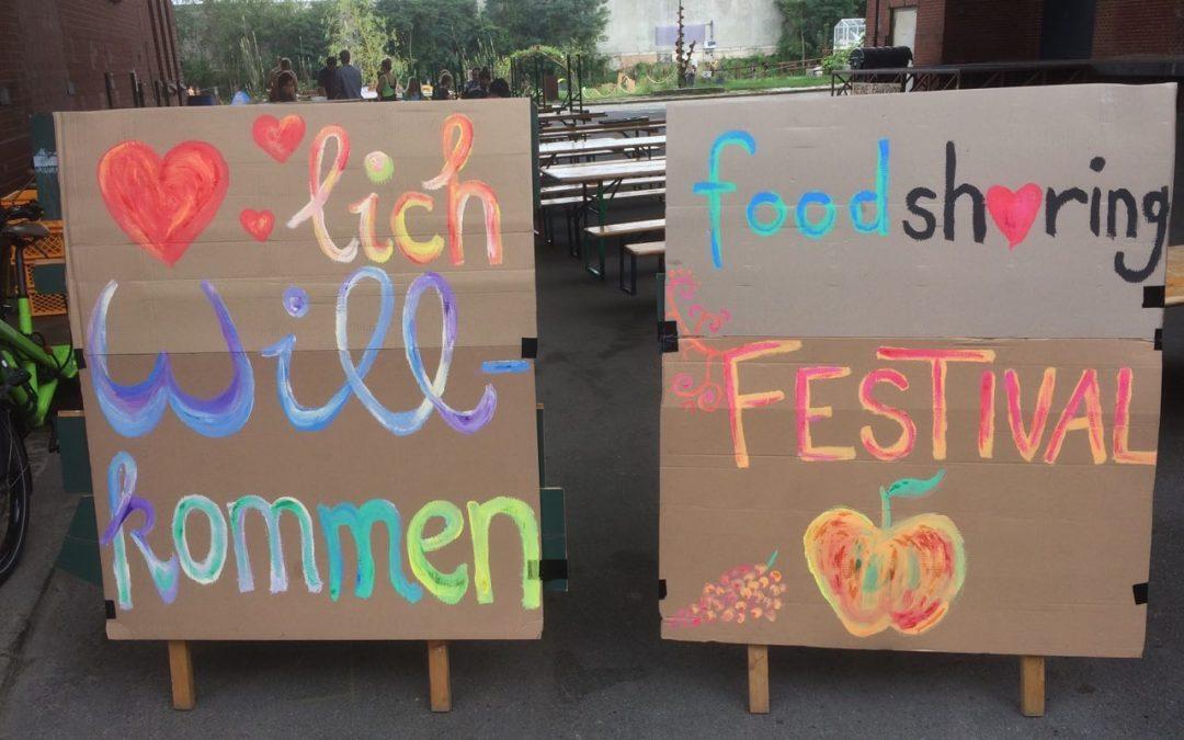 foodsharing Festival 2016 Willkommen Schild